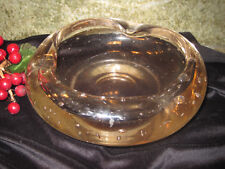 "Large Murano Style Art Glass Ashtray with Controlled Bubbles 7.5"" Diameter"