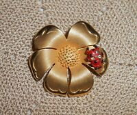 Vintage BEAU JEWELS Signed Enamel Ladybug Flower Brooch Pin Gold-tone  A246