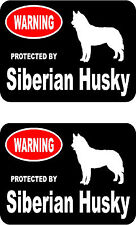 2 protected by Siberian Husky dog car bumper home window vinyl decals stickers