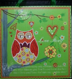 Owl Wall Hanging Art Print Picture Plaque Painting 40x40cm  Nursery Home Decor