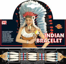 Red indian beaded bracelet cowboy western accessoire robe fantaisie