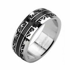 Ring schwarzes Kreuz & Tribal Silber aus Edelstahl Unisex Damenring Herrenring