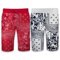 NEW Men Red Bandana French Terry Shorts Drawstrings Elastic Floral Print