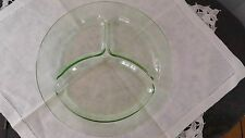 "Vintage Green Depression Glass Divided Plate 9 1/2"" Very Good Condition"