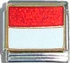 MONACO MONEGASQUE FLAG Ceramic Italian Charm 9mm- 1 x PQ034 Single Bracelet Link