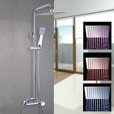 LED Chrome Square Adjustable Head Exposed Valve Shower Mixer Set