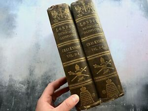 Pair of Antique 1851 Volumes 1-4 London Pictorially Illustrated - Charles Knight