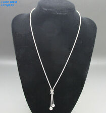 STUNNING SOLID 18CT 750 WHITE GOLD TASSLE DROP MESH LINK NECKLACE 7.8g 44CM LONG