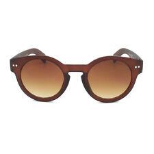 Thick Round Steampunk Round Lens Brown Sunglasses Classic Vintage Retro Matt