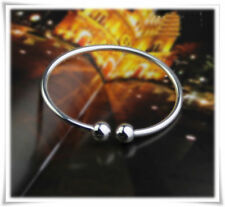 UK Classic Double Ball End 925 STERLING SILVER OPEN Adjustable BANGLE BRACELET
