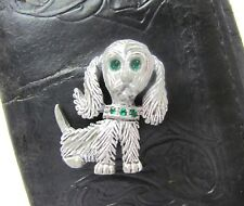 Vintage Gerrys Designer Brooch White -Gray Dog Green Rhinestones Cocker Spaniel