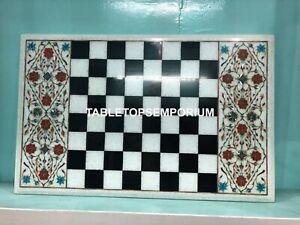 "16""x24"" White Marble Top Chess Living Room Table Carnelian Inlay Home Decor E134"