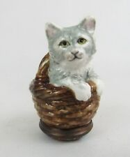 Halcyon Days Gray Kitty Cat in Basket Enamel Trinket Box with Blue Velvet Lining