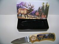 Collectors Lockback Knife with tin case Elk Pocket Wildlife Gift