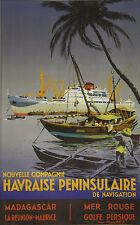 """""""Nlle Cie HAVRAISE PENINSULAIRE"""" Affiche originale entoilée  Roger CHAPELET 1950"""