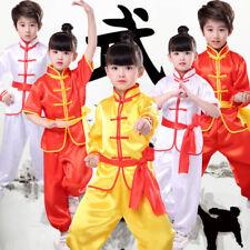 Kids Boys Girls Tai Chi Kung Fu Top+pants Uniform Martial Arts Taekwondo jx00