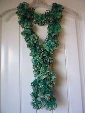 Handmade Crocheted Fashion Ruffle Scarf - Seafoam Green Sequin
