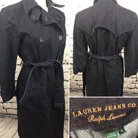 Women's Ralph Lauren M Western Dark Denim Trench Coat Duster Jacket (R2)