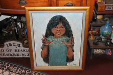 Stunning Oil Painting On Canvas-Signed FRY-Young Girl Playing W/Rope Yarn-Framed