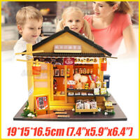 DIY Japanese Grocery Store Dollhouse Miniature Furniture Kits LED Kids Birthday