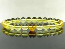 BALTIC AMBER BRACELET Insect Inclusion Yellow Round Bead Insects Gift 5,9g 13475