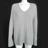 Lands End Women's Plus size 1X Cable Knit Ribbed Gray Sweater Beauty! - 662