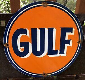 VINTAGE GULF GASOLINE PORCELAIN SIGN GAS STATION PUMP PLATE MOTOR OIL SERVICE