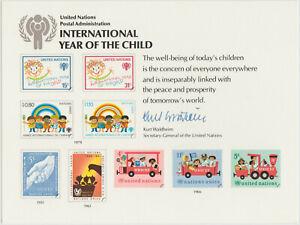 UNO Geschenkkarte, UN-Generalsekretärs, K. Waldheim, Jahr des Kindes, Text lesen