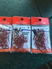 Eagle Claw Red Dual Lock Snaps Size 5 Three Packs Of 10