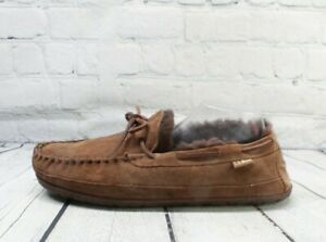 LL BEAN Men's Dark Brown Wicked Good Shearling Lined Moccasin Slippers Size 12 M
