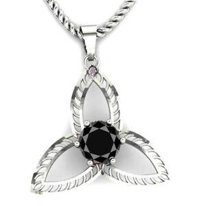 1.84 Ct Black Color Moissanite & Raw White Natural Diamond 925 Silver Pendant