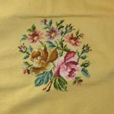 Pink Roses Flowers Yellow Seat Bench Needlepoint Completed Finished