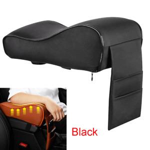 Black PU Leather Car Armrest Pad Cover Auto Center Console Box Cushion Trim Mat
