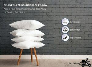 Luxury FOUR PACK DELUXE SUPER BOUNCE BACK PILLOWS POLY COTTON 4 BEDDING SET NeW