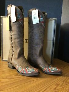 """B12 New Women's Sz 7 Stetson Turquoise 17"""" Tall Riding Cowboy Western Boots"""