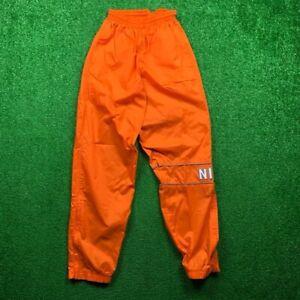 Vintage 90s Nike Windbreaker Track Pants Swoosh Jogger Ankle Nylon Orange