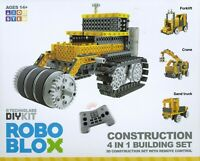 ROBOBLOX 4 in 1 DIY Construction Kit - Forklift, Crane, Sand Truck and Bulldozer