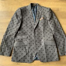 Ted Baker Formal Jacket Grey Paisley Print Wool  Blazer Size 38R Made In Italy