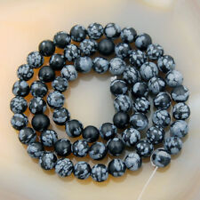 6mm Natural Snow Flake Obsidian Gemstone Round Beads 15''
