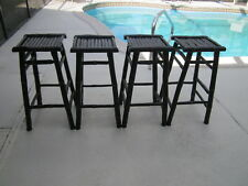 Vintage Bamboo Barstool Backless   Espresso Color Set  Four   Shipping Extra