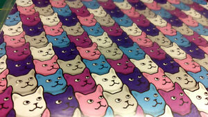 "New! Crazy Cat Lady theme Gift Wrap 2 sheets per pack 20""x30"" - Colorful Cats"