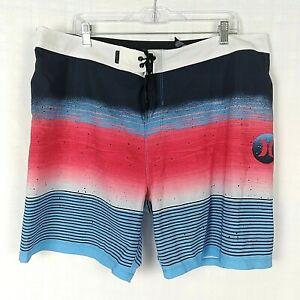 Hurley Phantom Men's Red White Blue Striped Swim Trunks Boardshorts Size 38