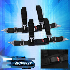"4Pt 2"" Black Nylon Universal Strap Harness Safety Buckle Racing Seat Belt Set"