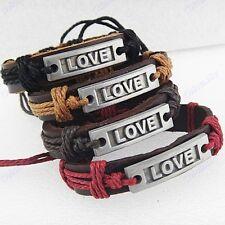 Wholesale Jewelry 12pcs Women Mens Antique Silver Plated Love Leather Bracelets