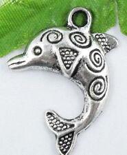 18Pcs Tibetan Silver dolphin Charms 25x23mm