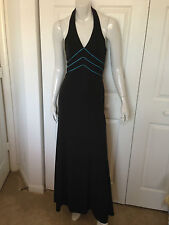 WMNS 5 LONG BLACK DRESS HALTER TOP BLUE CORDS AROUND BUST by MORGAN & CO.