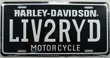 HARLEY DAVIDSON METAL LICENSE PLATE LIVE TO RIDE MOTORCYCLE SIGN LIV2RYD L178