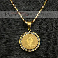 """ICED OUT VIRGIN MARY GOLD PLATED VIRGEN DE GUADALUPE PENDANT MEDAL 24"""" Box Chain"""