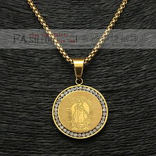 "ICED OUT VIRGIN MARY GOLD PLATED VIRGEN DE GUADALUPE PENDANT MEDAL 24"" Box Chain"