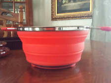 "New The Sharper Image Collapsible Knockdown Silicone Strainer Colander 9.5""D Red"